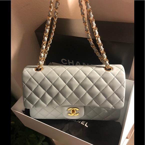 CHANEL Bags   Auth Light Blue Classic Medium Double Flap   Poshmark 2903bdddef